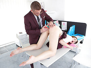 Babe takes doggy position to get punished.