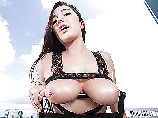 Busty bombshell Karlee Grey received a jizz load on her mouth